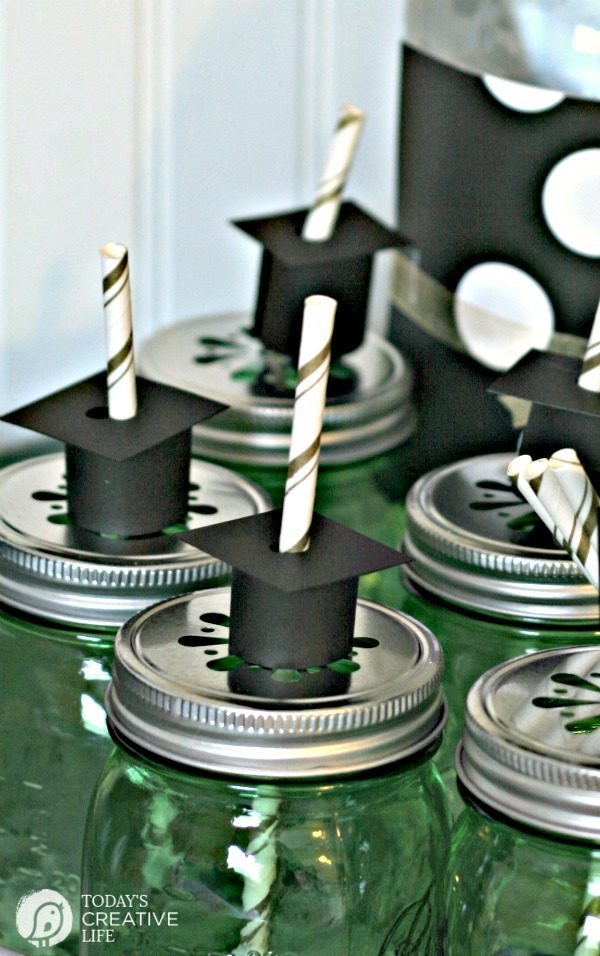 High School Graduation Party Ideas | Simple Grad Hat Straws for DIY Decorations