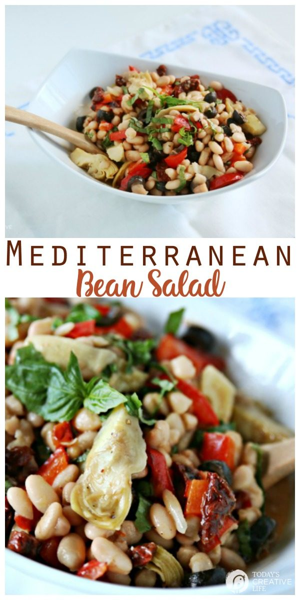 Mediterranean Bean Salad | This healthy side dish is perfect for a BBQ or summer dinner. Easy to make. TodaysCreativeLife.com