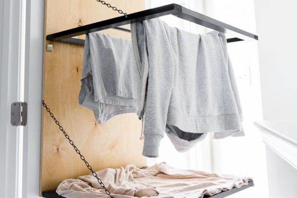 DIY Pulldown Hanging Drying Rack byBrittanyGoldwyn.com