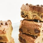 Peanut Butter Brownies with Fudge Frosting | this scratch PB Blondies topped with frosting and chocolate chips recipe is rich and delicious! My Frosted Life for TodaysCreativeLife.com