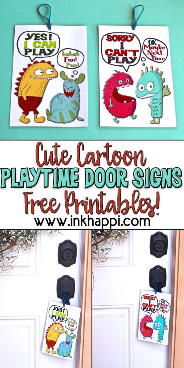 Printable Playtime Door Hanger Signs | Create easy to follow playtime boundaries for the neighbor kids with these free printable Door Hanger Signs | inkhappi.com for TodaysCreativelife.com