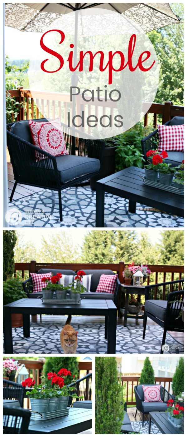 Small Patio Decorating Ideas on a budget | Budget friendly outdoor living | Deck living | Outdoor room | Outdoor conversation sets | TodaysCreativeLife.com