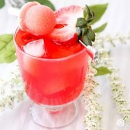 Strawberry Wine Sipper with Mini Mint-sicle summer drink | Summer drinks and cocktails | Easy drink recipes | Strawberry Recipes | TodaysCreativeLife.com