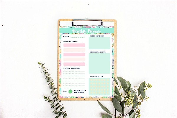 Monthly Planner Printable Summer Theme