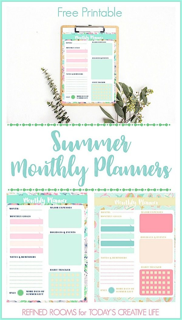 Monthly Planner Printable Summer Theme | This free and stylish floral design will help keep you organized. Download and print as many as you need. Refined Rooms for TodaysCreativelife.com