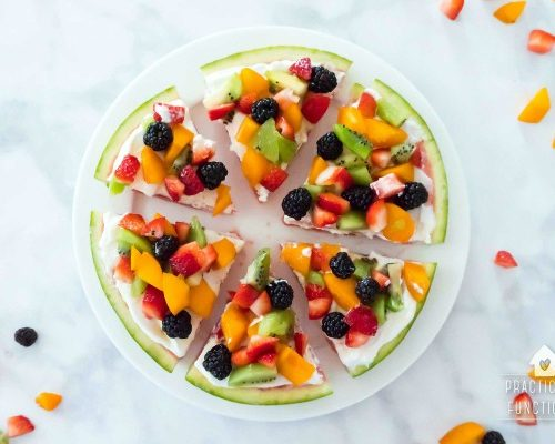 Watermelon Pizza Dessert Recipe topped with yogurt and fruit toppings. Summer desserts make every BBQ better, especially when it's a fruit pizza! Celebrate Summer Series Practically Functional for TodaysCreativeLife.com