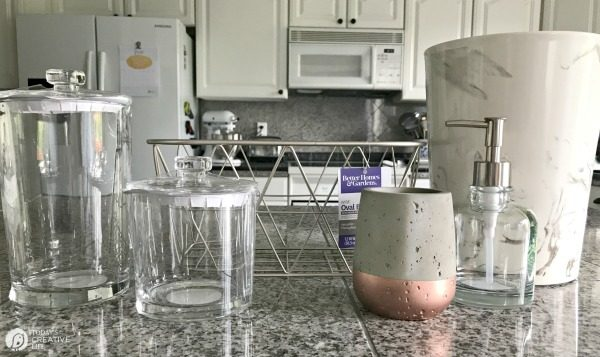 Apothecary Glass Jars, bathroom containers, and hand soap dispenser