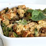 Breakfast Strata Recipe with Rye bread, sausage, spinach and eggs