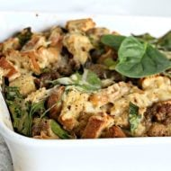 Breakfast Strata Recipe with Rye Bread and Sausage