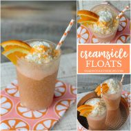 Creamsicle Float Recipe | This float made with Orange Sherbet, Cream Soda and Whipped Cream tastes like summer! Frozen slushy drinks. Easy to make. Shaken Together for TodaysCreativeLife.com