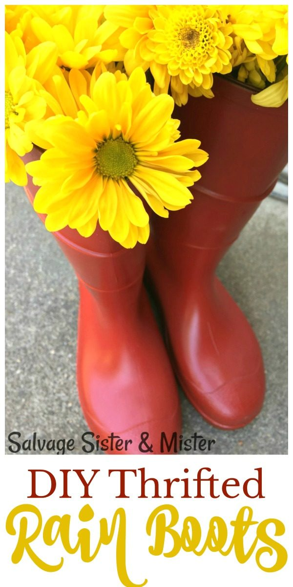 DIY Thrifted Rain Boots Porch Decor | how to paint rubber boots | repurposed rain boots | Hunter boot look alike | Salvage Sister and Mister for TodaysCreativeLife.com