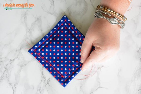 DIY Coasters Step by Step Tutorial | Sewing Craft | How to make patriotic fabric quilted coasters | Red, White and Blue for 4th of July and Memorial Day ideas | I Should Be Mopping the Floor for TodaysCreativeLife.com