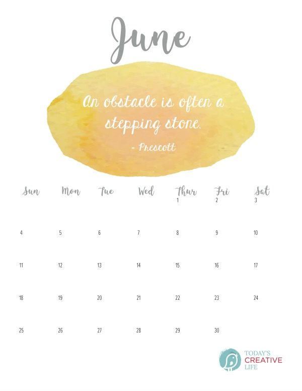 June 2017 Printable Calendar | Free printable calendar | TodaysCreativeLife.com