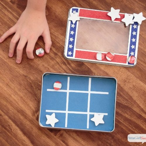 Magnetic Travel Tic Tac Toe Game | DIY Car Games for Kids | Road Trip Games for kids | by Atta Girl Says for TodaysCreativeLife.com