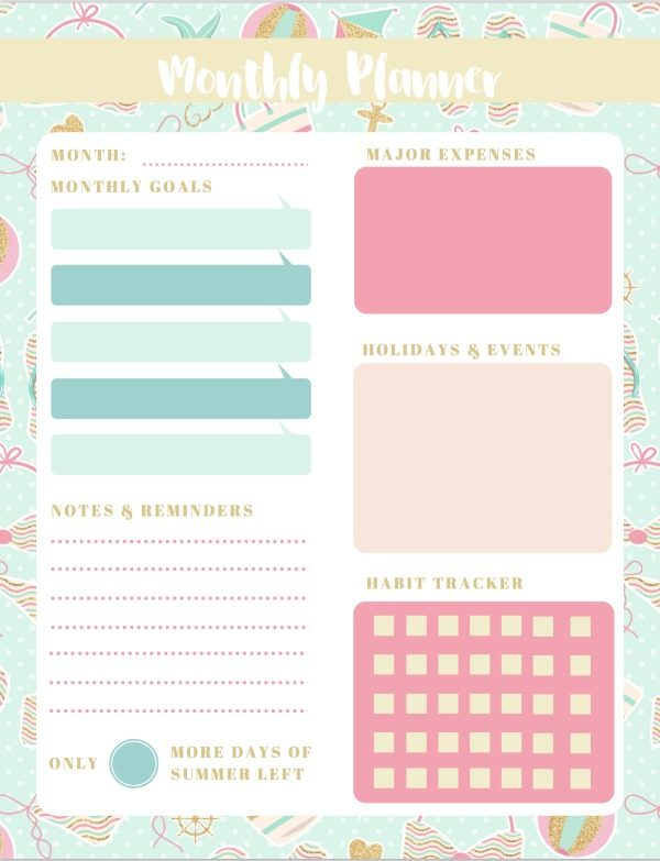 Monthly Planner Printable Summer Theme | This free and stylish floral design will help keep you organized. Download and print as many as you need. TodaysCreativelife.com