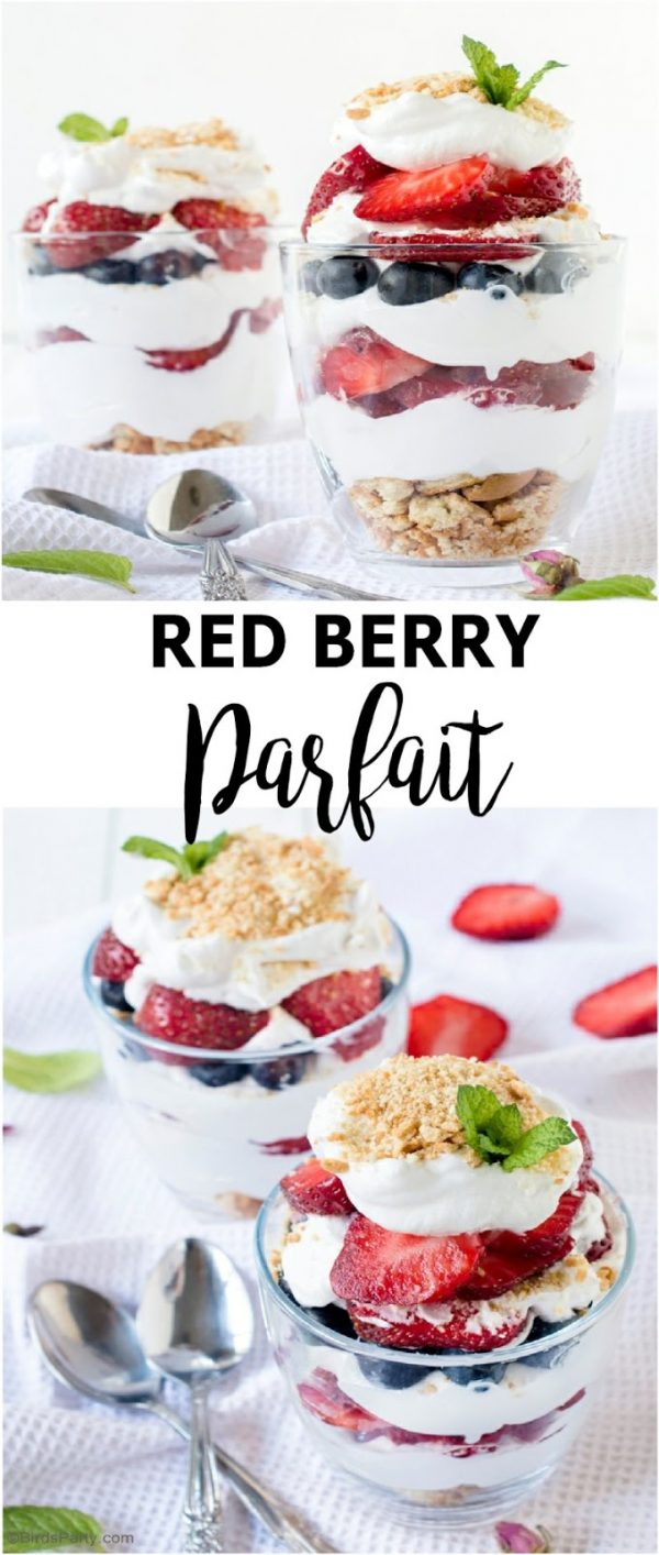 titled photo collage showing 4th of July desserts - red berry parfaits