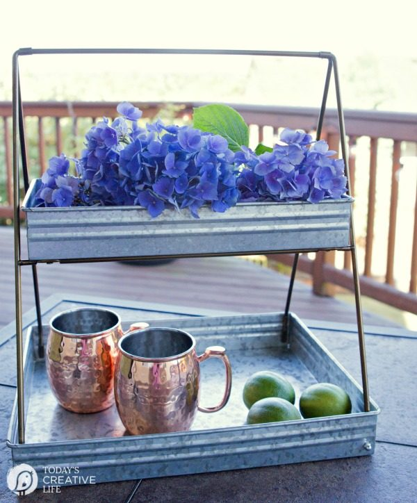 Galvanized 2 Tiered Serving Tray |Breakfast Nook Makeover | Kitchen nook ideas for simple and stylish decorating on a budget. Farmhouse style from Better Homes and Gardens.