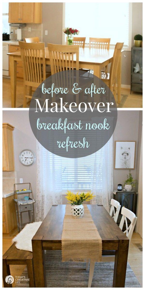 Breakfast Nook Makeover | Kitchen nook ideas for simple and stylish decorating on a budget. Farmhouse style from Better Homes and Gardens. Before and After makeover ideas on a budget | Sponsored | See more on TodaysCreativeLife.com
