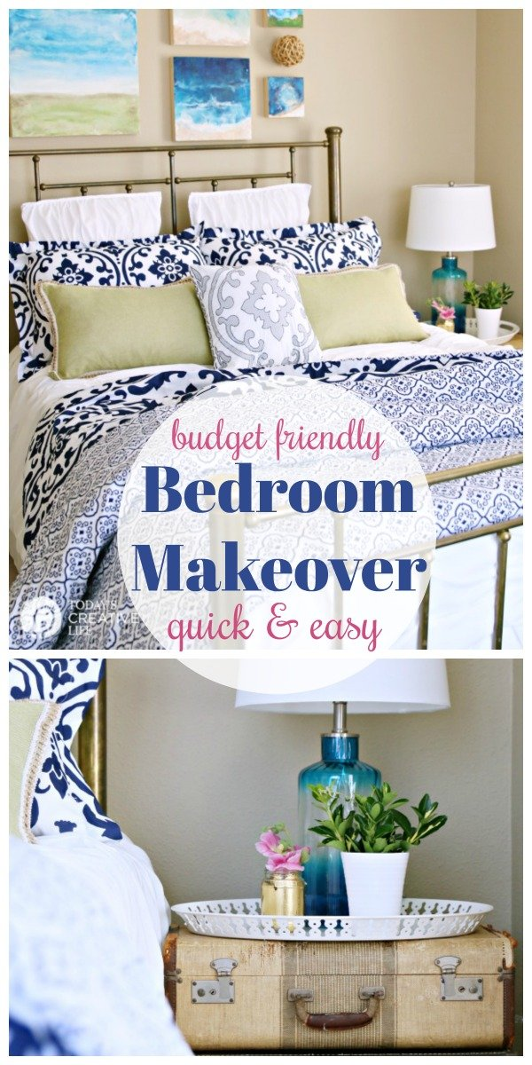 Guest Bedroom Ideas on a Budget | Before and After Room Makeover | Stylish and cheap room makeover decorating ideas for any bedroom. Navy and white comforter set from BHG | See more by clicking on the photo from TodaysCreativeLife.com #BHGLivebetter #sponsored