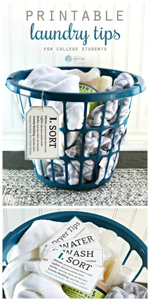 Printable Laundry Tips for College Students | Laundry 101 | Easy laminated laundry note cards | How to do laundry | Laundry tips | Laundry guide | Free printable | Find it on TodaysCreativeLife.com #LaundryTips #FreePrintable