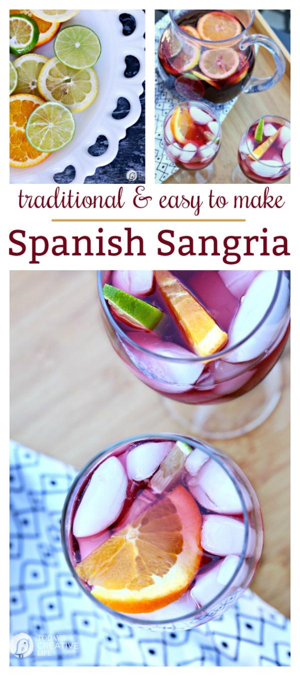 Spanish Sangria Recipe | Traditional, easy to make for a crowd, red wine punch sangria with rum and citrus fruit. TodaysCreativeLife.com
