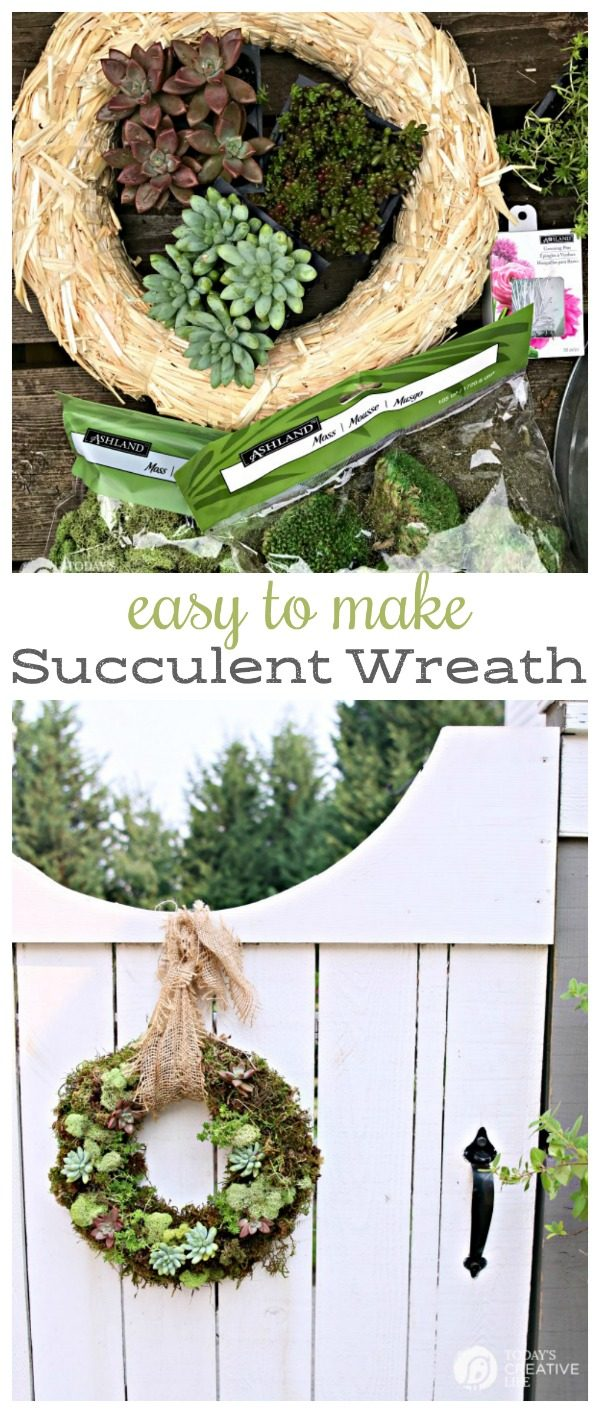 titled photo collage (and shown): Easy to Make Succulent Wreath