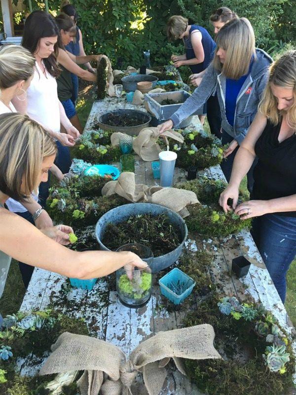 Succulent Wreath Making Workshop at El & Em Cottage in Battleground Washington.
