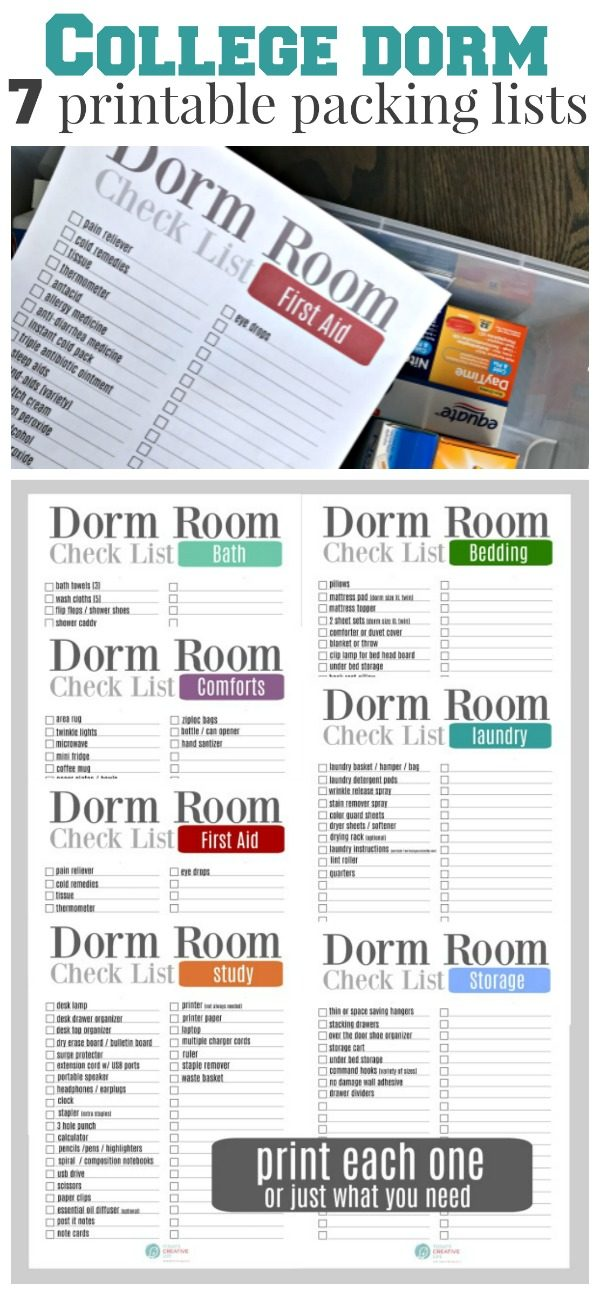 College Packing List | Free Printable Dorm Room Checklist for all dorm essentials. Broken down into categories for easy organizing.