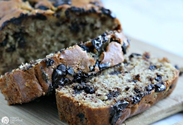 Buttermilk Banana Bread with Chocolate Chips Recipe | TodaysCreativeLife.com
