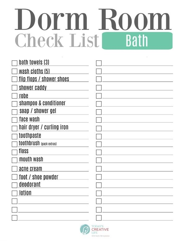 College Packing List | Dorm room list for Bath essentials | TodaysCreativeLife.com