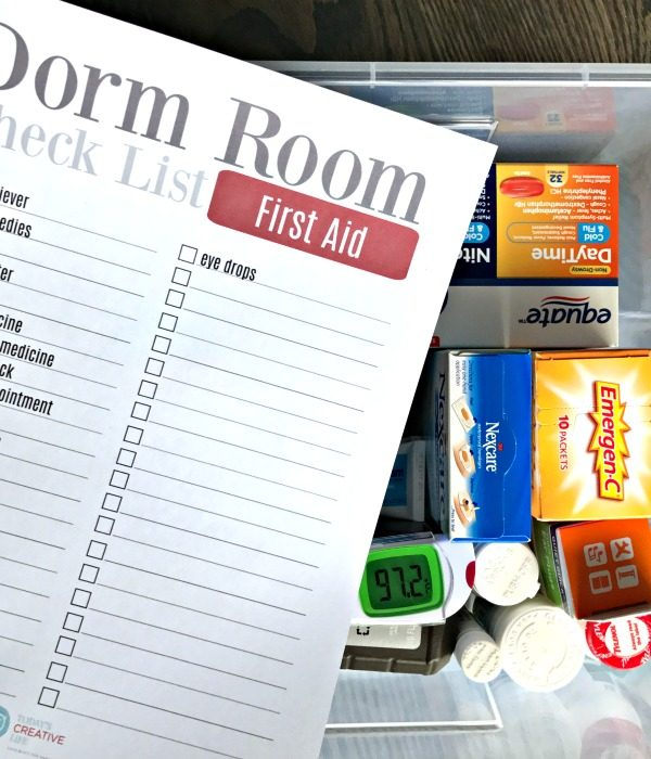 College Packing List | Dorm Room Essentials | First Aid Items | TodaysCreativeLife.com