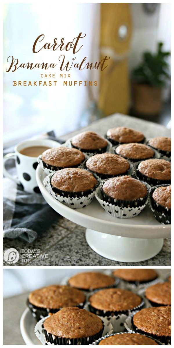 Carrot Banana Walnut Muffins Recipe   Easy and delicious muffin recipe  Cake Mix Muffin Recipes   Cake Mix Hacks   Breakfast Muffins   Click the photo for the recipe from TodaysCreativeLife.com #ad #breakfast #muffins