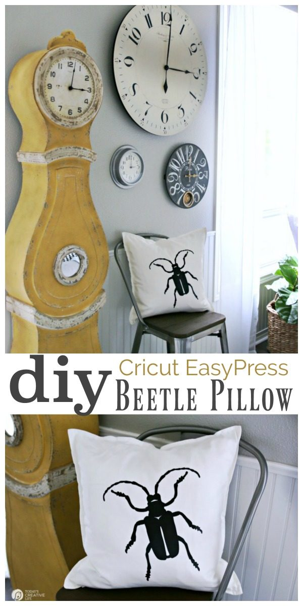 Cricut EasyPress Heat Press DIY Beetle Halloween Pillow Tutorial | TodaysCreativeLife.com
