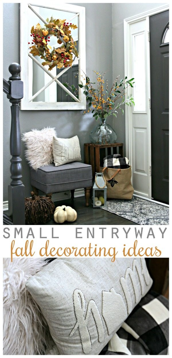 Small Entryway Decorating Ideas | Small entryway bench and decor | Foyer Decor | Decorating for Fall TodaysCreativeLife.com