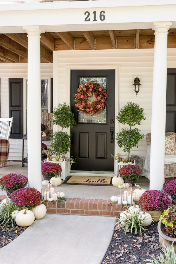 Red & Plum Mums Fall Porch by Home Stories from A to Z