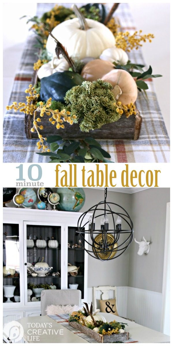 DIY Fall Decor | Easy Table Centerpiece for Fall or Thanksgiving. Easy Decorating ideas for Fall | Rustic natural table decor | TodaysCreativeLife.com