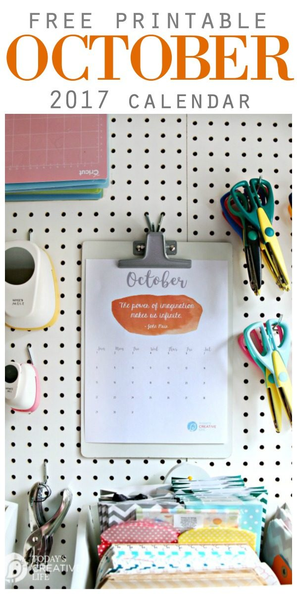 October 2017 Printable Calendar   Free Printables   Month to Month print your own calendar   Inspirational quote calendars   Click the photo   TodaysCreativeLife.com