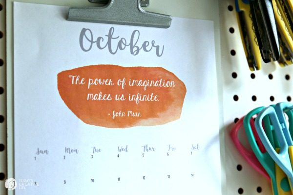 October 2017 Printable Calendar | Todayscreativelife.com