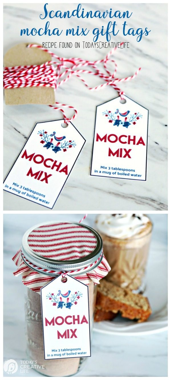 Scandinavian Mocha Mix Gift Tags | Free Printable Tags for homemade mocha mix gift idea. Mocha Mix Recipe also found on TodaysCreativeLife.com