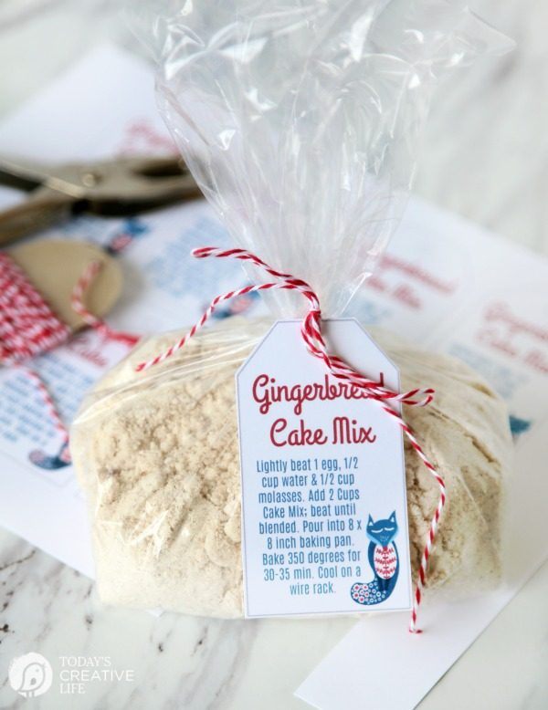 Gingerbread Cake Mix with free printable gift tag for homemade gifts from the kitchen.