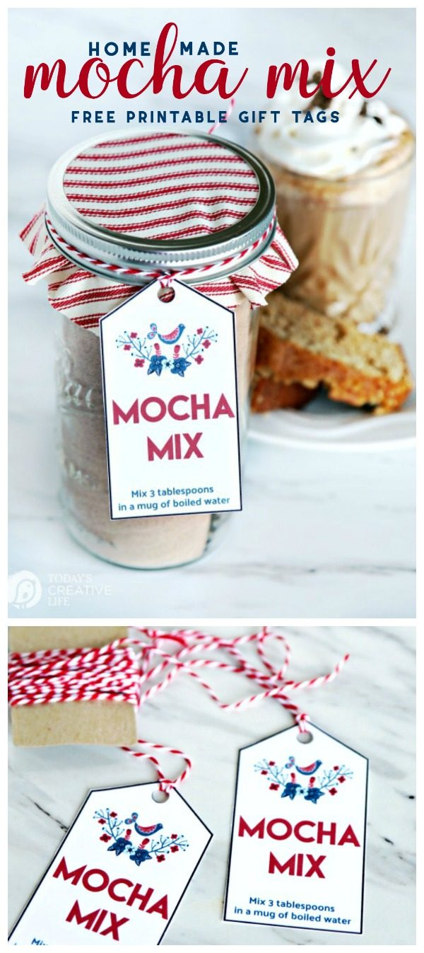 Homemade Mocha Mix Recipe in a jar with a fabric top and gift tag for homemade holiday gifts.