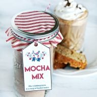 Homemade Mocha Mix Recipe | Easy homemade Christmas gift ideas for friends and neighbors. Free Scandinavian gift tag. Gifts in a Jar | TodaysCreativeLife.com #homemadegifts #teachergifts #Christmas #freeprintablegifttags