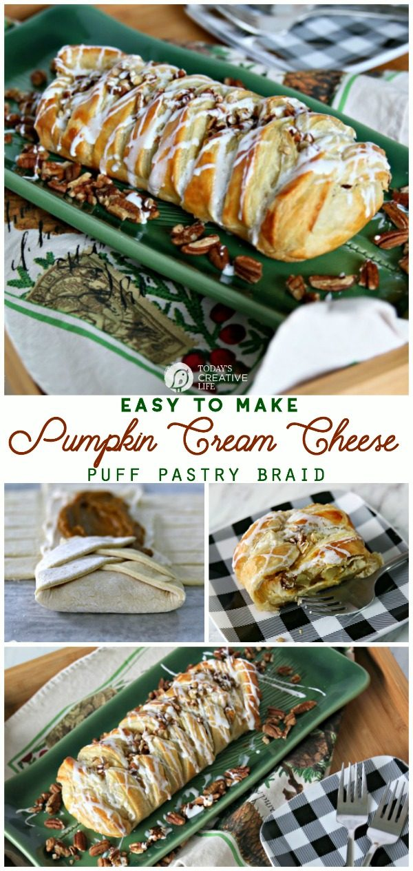 titled photo collage (and shown): Pumpkin Cream Cheese Puff Pastry Braid