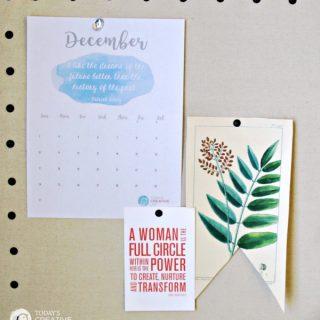 2017 Printable December Calendar | TodaysCreativeLife.com