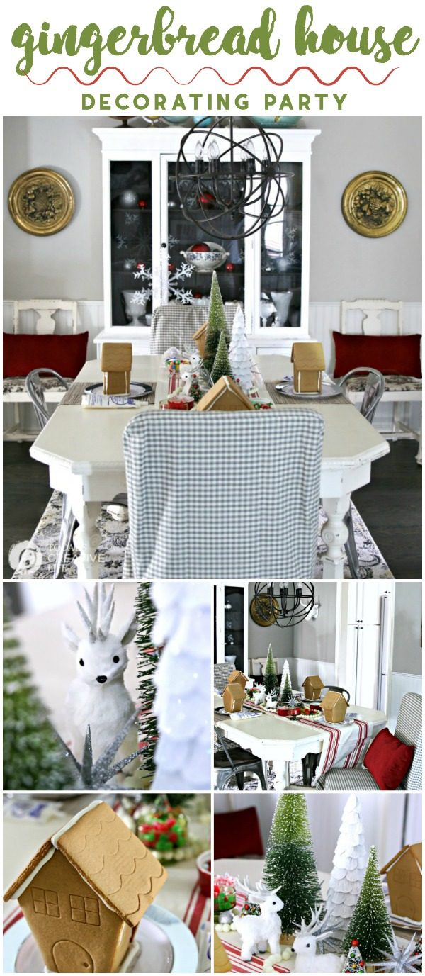 Gingerbread House Decorating Holiday Party | Easy Christmas Party Ideas | Easy holiday centerpiece ideas | Inexpensive Christmas Decor | TodaysCreativeLife.com