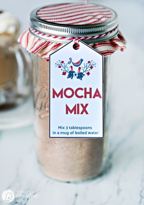 A jar of Homemade Mocha Mix with free printable gift tag