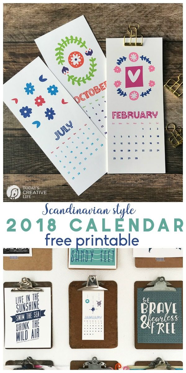 Printable 2018 Calendar | Scandinavian Style free printable calendar | Get organized for 2018! TodaysCreativeLife.com