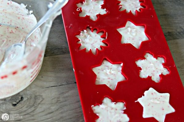 Hot Chocolate Peppermint Melts | Make Peppermint hot cocoa in an instant with these peppermint snowflake cocoa melts. Just stir it in! TodaysCreativeLife.com