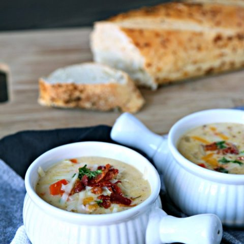 Cheesy German Potato Soup | Cheddar & Gruyere Cheese along with READ German Potato Salad makes the best homemade potato soup! Easy dinner ideas on TodaysCreativeLife.com #ad