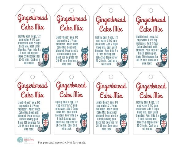 Gingerbread Cake Mix Tag